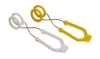 O-Tongs, Eierzange 2er Set, gelb/weiss, 17x4x4.6 cm