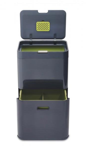 Totem 48l Recycling Station, graphite/grün, 40x30x65.5 cm