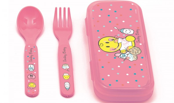 Smiley Baby pink, Besteck 2-er Set 14 cm