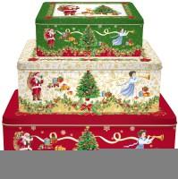 6x Merry Christmas 3er Set Guetzli-Büchsen 28x20/24x18/20x13 cm