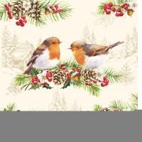 Winter Robins Servietten 20 Stk. 33x33 cm