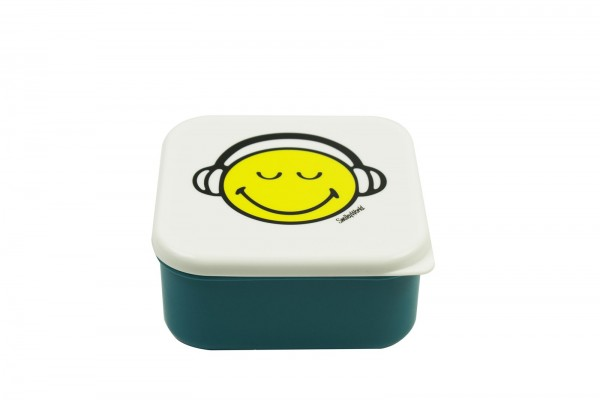 Smiley Lunchbox, blau/weiss, 12 x 12 cm