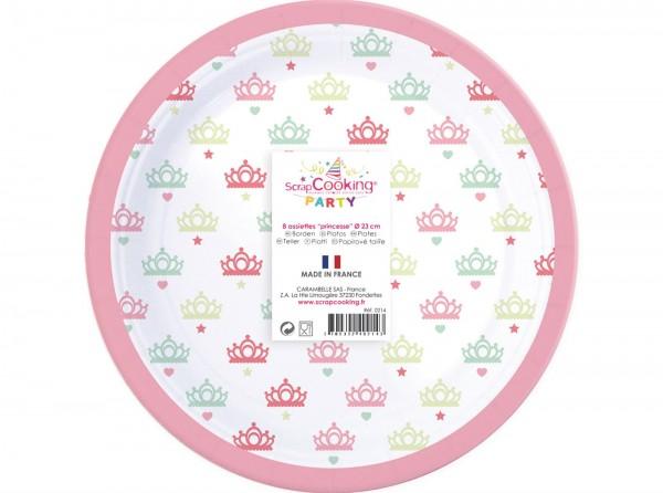 """Teller Karton, 8 Stk. """"Prinzessin"""" Ø23cm"""