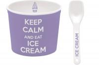 Keep Calm Porzellan Eisbecher, violett, Ø 8.5 cm