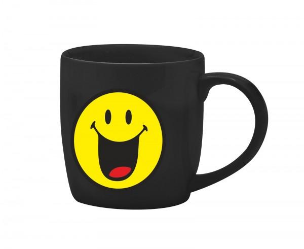 Smiley Porz. Espressotasse schwarz/Emoticon happy 7.5cl