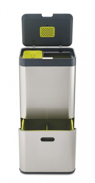 Totem 60l Recycling Edelstahl graphit/grün, 40x30x79.7 cm