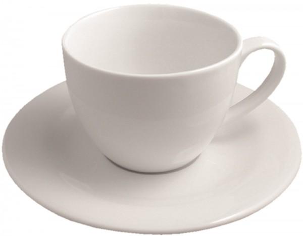 6x Lipari Frühstückstasse mit Untertasse, 35cl, weiss