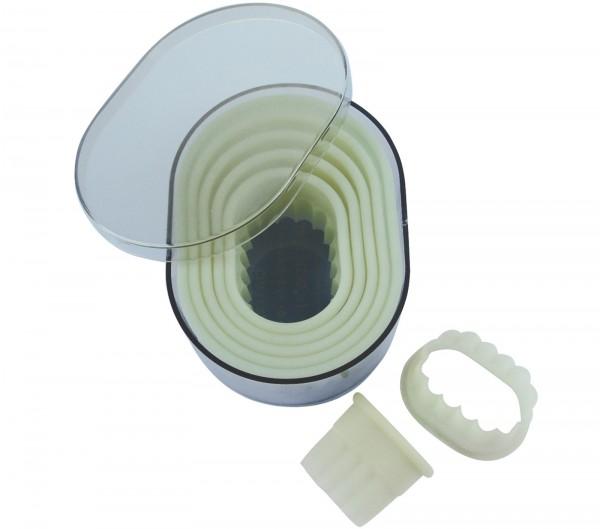 Ausstechersatz Oval gezackt 7-teilig Ø2-11cm H: 5cm