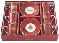 """Coffee Mania 6er Espr.-tasse m. Untert. GB, """"Red"""",100ml"""