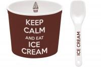Keep Calm Porzellan Eisbecher, braun, Ø 8.5 cm