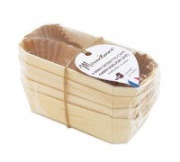 4x Mini Kuchenbackform  12x6 cm aus Holz mit 8x Backpapier