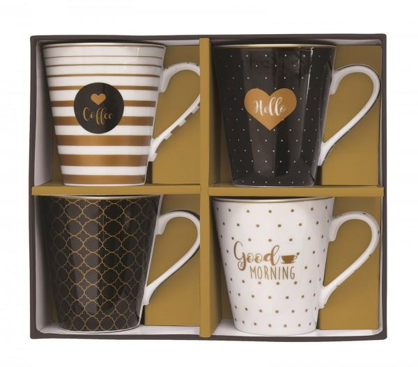 """Coffee Mania 4er Set Kaffebecher in GB,""""Feder"""",300ml"""