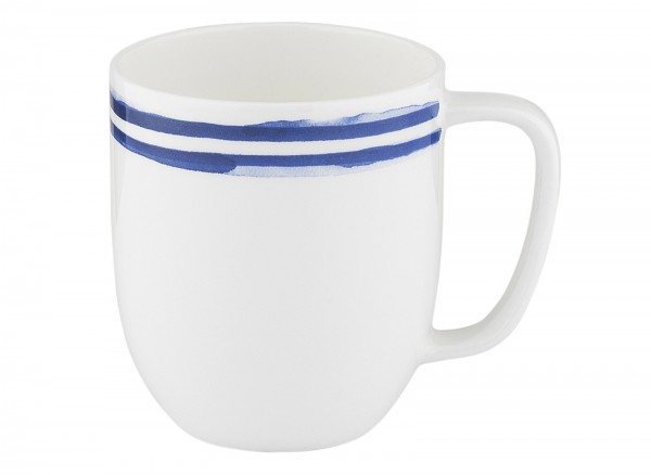 Indigo Porzellanbecher, Streifen, blau, 380 ml