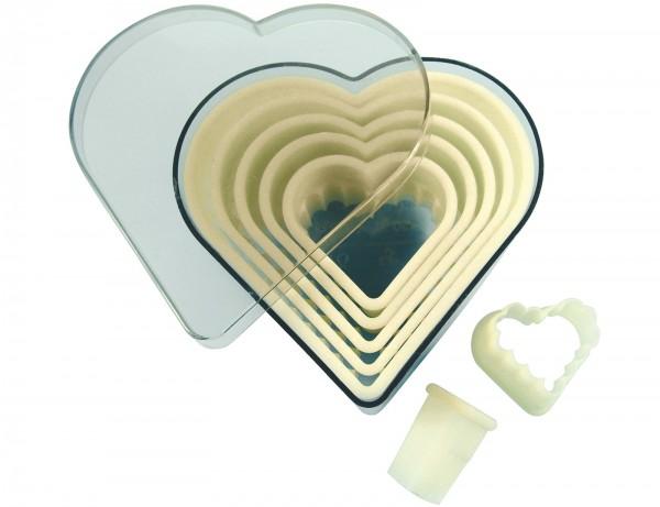 Ausstechersatz Herz gezackt 7-teilig Ø1.5-9.5cm H: 5cm