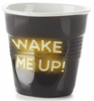 """Cappuccino Knitterbecher 18 cl, Neon """"Wake me Up"""""""