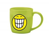 Smiley Porz. Kaffeetasse grün/Emoticon breites Grinsen 20cl