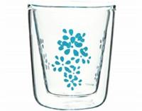 Lily Espressoglas weiss/aqua blau, doppelwandig 7.5 cl