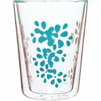 Lily Teeglas weiss/aqua blau, doppelwandig 35 cl