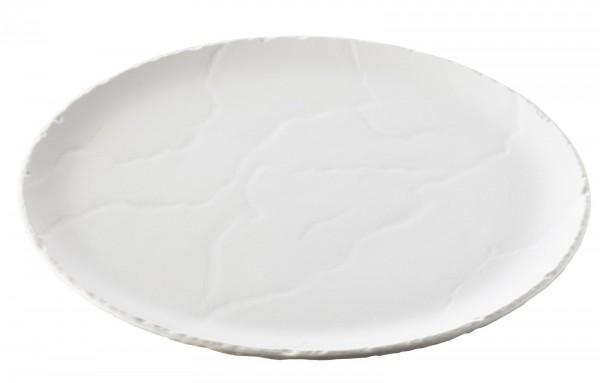 Platte rund, Ø 32 cm, H: 1.5 cm, Schiefer-Stil, weiss