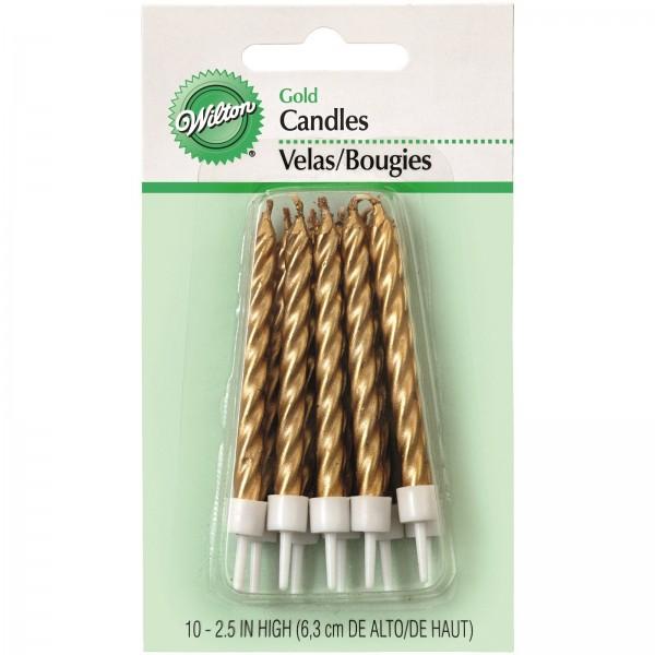 Kerzen gold metallic, 10 Stk.
