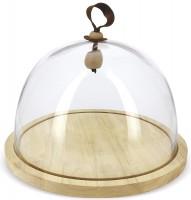 Holzplatte mit Glasglocke, H: 25 cm, Ø30.5 cm, klar