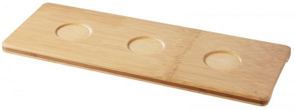 6x Bambus Tablett mit 3 Aussparungen