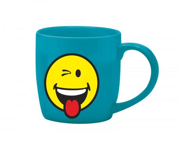 Smiley Porz. Espr.tasse auqa blau/Emoticon zwinkern 7.5cl