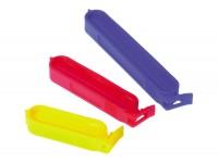 Beutel Clips 10 Stk. in drei Grössen, 2x blau/6x rot/2x gelb
