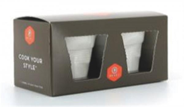 Verpackung weiss, 2er Espresso Knitterbecher (ohne Inhalt)