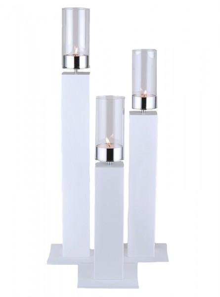 Kerzenhalter iNORAMA 108-83, 15x15x83cm weiss, ohne Glaszyl.