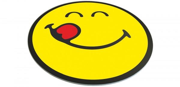 Smiley Untersetzer, Emoticon Yummy Ø30 cm, Glas