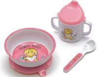 3x Smiley Baby 3 Set pink, Schüssel m. Saugn.+Becher+Löffel