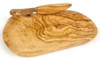Butterdose mit Streichmesser Olivenholz 14.5x18.5 cm