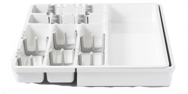 Besteck- und Küchenhelferbehälter ausziehbar, gross, weiss