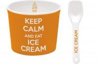 Keep Calm Porzellan Eisbecher, orange, Ø 8.5 cm
