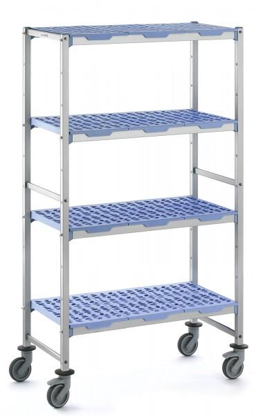 Regal mit 4 Ebenen, Kunststoff, 1292x560x1750mm, auf Räder