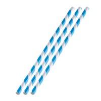 36 Papiertrinkhalme, blau-weiß, 197 x 6 mm