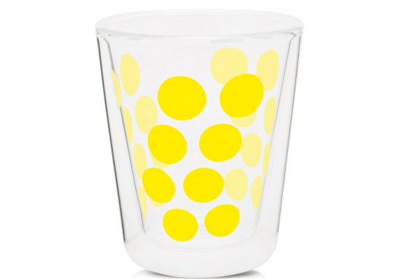 Dot Dot Kaffeeglas gelb, doppelwandig 20 cl
