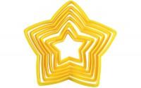 Plastik Ausstechform Stern, gelb, 6er Set