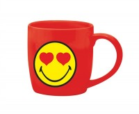 Smiley Porz. Kaffeetasse rot/Emoticon love 20cl