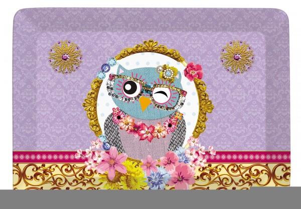 """Fancy Animals """"Eule"""" Tablett 31x23 cm"""